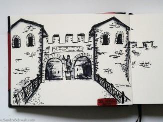 Schwab, Sandra - Zeichnung der Saalburg