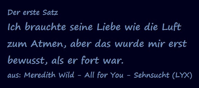 Der erste Satz - Wild, Meredith - All for You - Sehnsucht